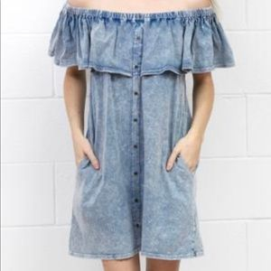 Umgee chambray off shoulder dress